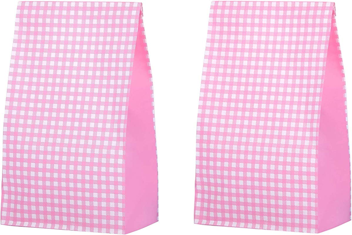 Small Decorative Grocery Bags 3 1 2 X 2 1 6 X 7 Inch Pink Colored Grid Recycling Paper For Candy Lunch Gifts Bread Popcorn Food Cookies Party Favor Baby Shower Pack Of 36 In Bulk