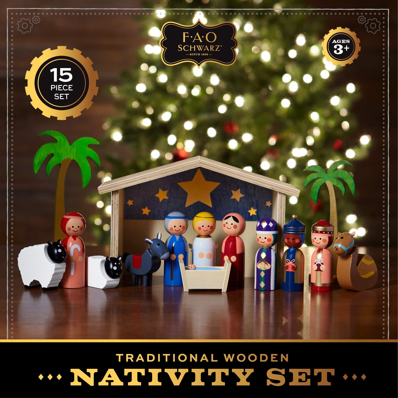 FAO Schwarz Wood Nativity Set Christmas Sunday School Teacher Aid 15 Pieces NIB