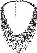 AeraVida Cultured Freshwater Pearl & Fashion Crystal Silk Layered Multi Strand Necklace