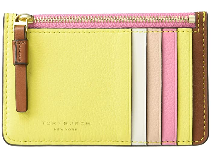 Tory Burch  Perry Color-Block Top Zip Card Case (Goan Sand/Electric YellowithPink City) Handbags