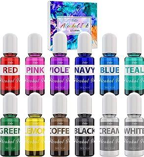 Alcohol Ink Set - 12 Couleurs x 10ml Encres Alcool pour Peinture, Résine Epoxy, Art Résine, Fabrication de Boîtes Pétri Ré...