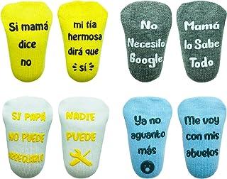 Cincobebé Juego de Calcetines Antideslizantes para Bebé/Recién Nacido,con Frases en Español Divertidas Lindas,Apto para To...