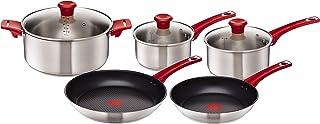 Tefal H801S5 Jamie Oliver Standard Grytset, 5 Delar, Silver-Röd