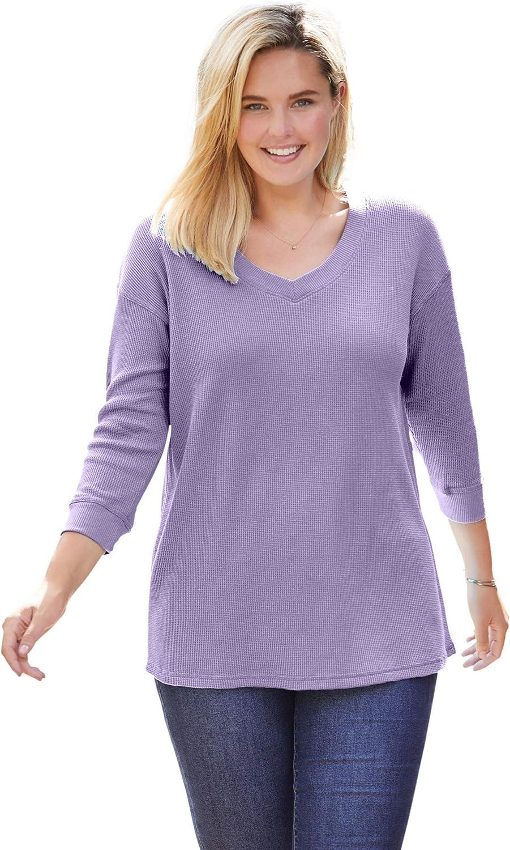 Woman Within Women's Plus Size Three-Quarter Sleeve Thermal Waffle Sweatshirt