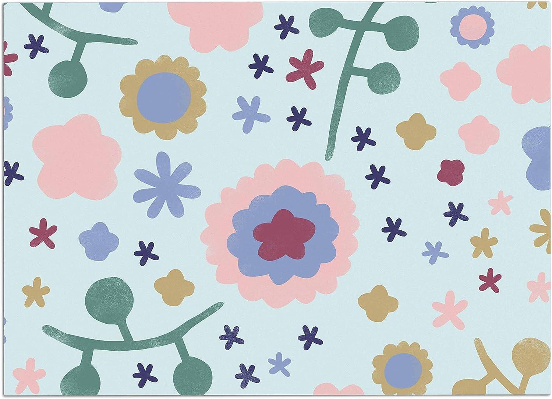 KESS InHouse AA2006ADM02 Alik Arzoumanian Morning Flowers Pink bluee Dog Place Mat, 24 x15