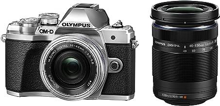 Olympus OM-D E-M10 Mark III Kit, Micro Four Thirds Systemkamera (16 Megapixel, Bildstabilisator, elektr. Sucher, 4K-Video) + M.Zuiko 14-42mm EZ Zoomobjektiv + M.Zuiko 40-150mm Telezoom, silber/schwarz
