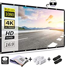 Projection Screen 120 Inch, Projector Screen 16:9 HD Foldable Anti-Crease Portable Movies Screen for Home Theater Outdoor Indoor Support Double Sided Projection