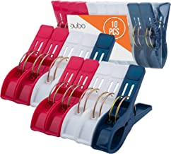 Beach Chair Towel Clips Clamps – 10 Pack Pool Towel Holder and Large Plastic Clamp – Red, White and Blue Jumbo Clothespins...