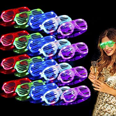 TURNMEON 20 Pack LED Glasses,5 Color Light Up Glasses Shutter Shades Glow Sticks Glasses Led Party Sunglasses Adults Kids Glow in The Dark Rave Halloween Party Supplies Favors Birthday Neon Party Glow Toys