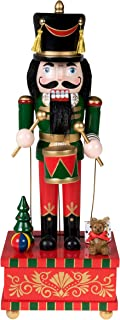 """Clever Creations Classic Drummer Nutcracker Music Box Green, Gold, and Red Uniform with Snare Drum 