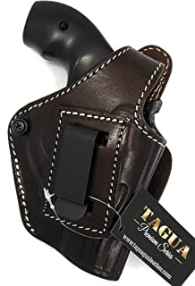 "HOLSTERMART USA TAGUA Premium Deluxe Right Hand Dark Brown Leather IWB OWB 4 in 1 Thumb Break Holster for S&W J-Frame 22 38 Revolver, 1-7/8"" to 2-1/8"""