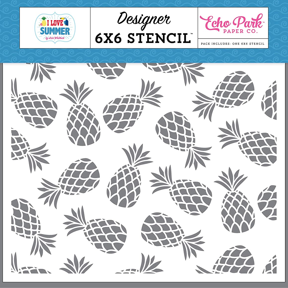 Echo Park Paper Company SU178033 Pineapple Paradise Stencil, Pink, Teal, Green, Yellow, Blue, red