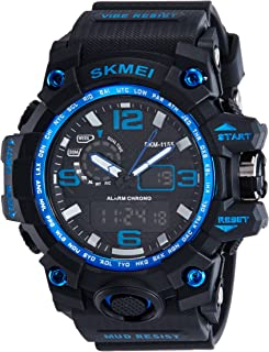 SKMEI Men's SK1155C Multifunctional Outdoor Sports Dual Time Analog Digital Wrist Watch Blue