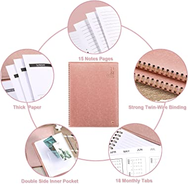"""2021-2022 Monthly Planner - Jul 2021 - Dec 2022, Monthly Calendar/Planner 2021-2022 with Faux Leather, 8.86"""" x 11.4"""","""