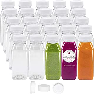 Pack of 48 Empty PET Plastic Juice Bottles - 8 oz Reusable Clear Disposable Milk Bulk Containers with White Tamper Evident Caps