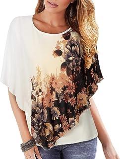 Lotusmile Women's Sleeveless Floral Print Swing Pleated Casual Chiffon Blouse Tunic Tank Top