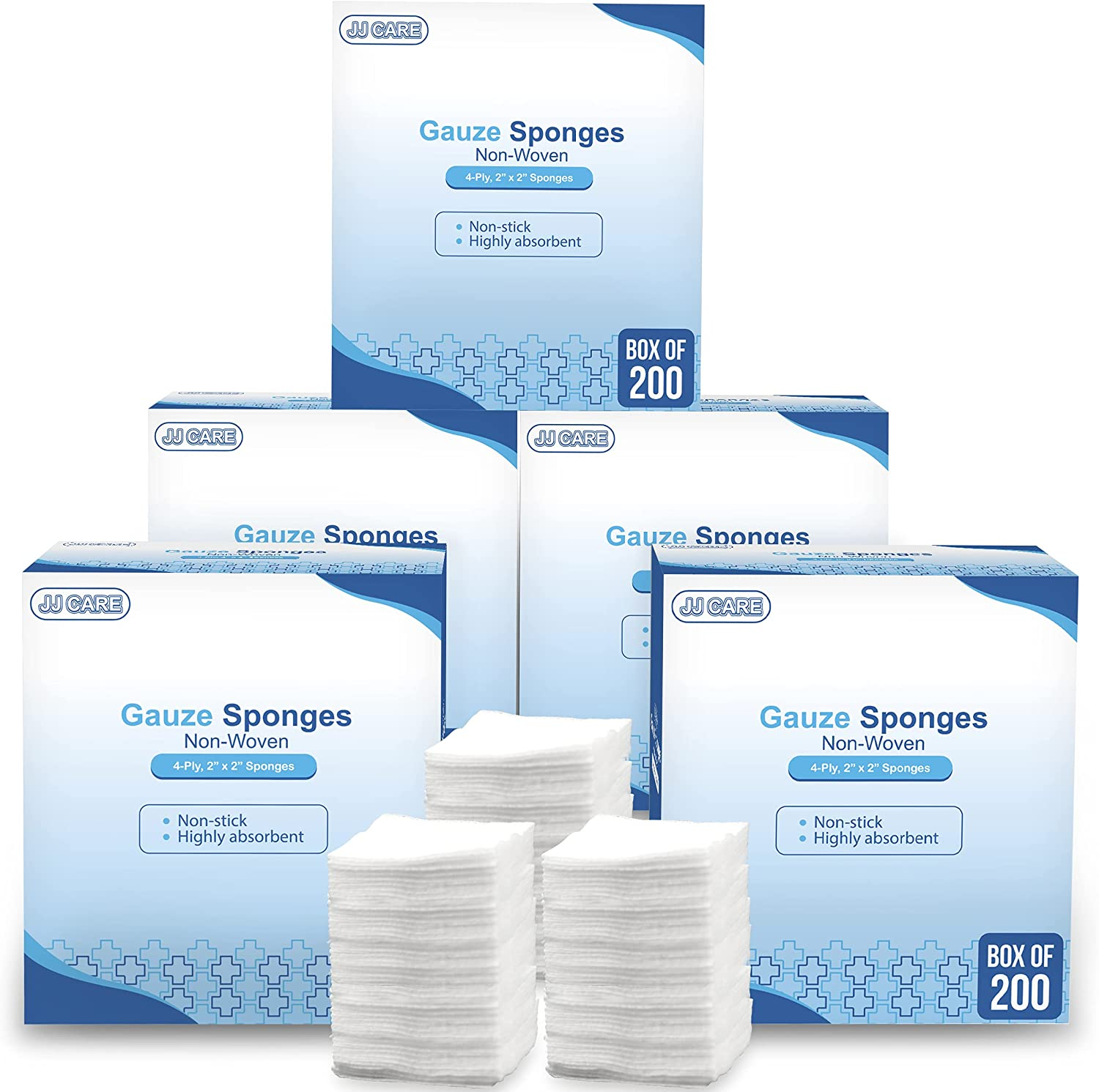 JJ CARE 2x2 Non Woven Gauze Large-scale sale Sponges Thicker Max 55% OFF of 1000 Pack 40% N