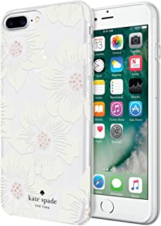 kate spade new york Protective Hardshell Case for iPhone 8 Plus, iPhone 7 Plus, iPhone 6s Plus & iPhone 6 Plus - Hollyhock Floral Clear / Cream with Stones