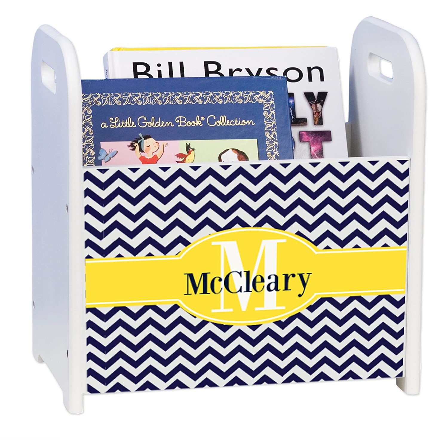 Personalized Max 58% OFF Navy Denver Mall Chevron w Yellow White Book Rack Caddy and
