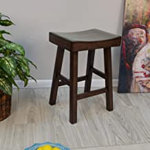 product image for Carolina Chair and Table Trym Wood Saddle Seat Counter Stool Espresso Espresso Finish
