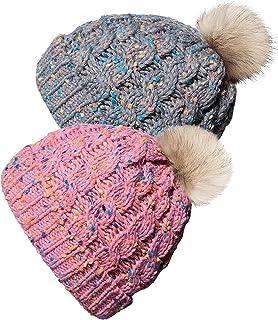 2 بسته کودک نوپا کودکان و نوجوانان و زمستان گرم پشم گوسفند وجانوران دیگر کلاه Beanie برای پسران و دختران قلاب بافی قلاب بافی کلاه بافت (1-6 سال)