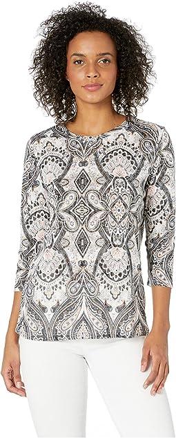 f412e407464fa Tribal 3 4 sleeve henley knit burnout top
