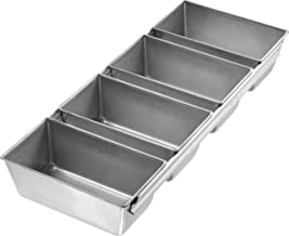 USA Pan Bakeware Strapped Mini Loaf Pan, 4 Loaves, Nonstick & Quick Release Coating, Made in The USA from Aluminized Steel