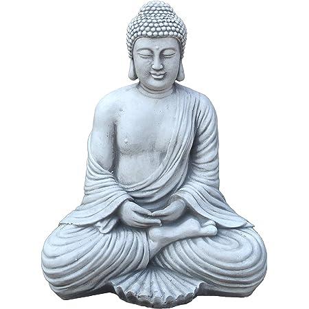 Cepewa Antik Buddha sitzend Figur Statue Skulptur Feng Shui Gl/ücksbringer Buddhismus Gartendeko