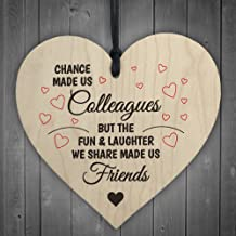 Red Ocean Colleagues Fun and Laughter Novelty Wooden Hanging Heart Leaving Gift Plaque Work Friendship Sign