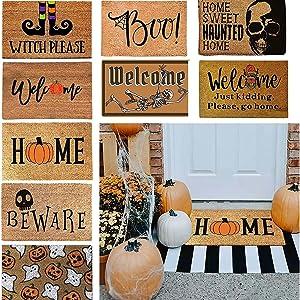 Halloween Doormat Pumpkin Blanket Welcome Home Front Door Decorations Halloween Decor Door Mat Anti-Slip Bottom Indoor Outdoor Carpet Non-Slip Front Door Mat for Bathroom