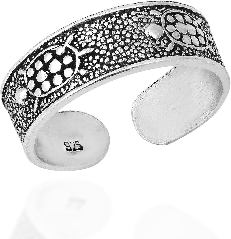 AeraVida Mythic Marine Oklahoma City Mall Turtle Band Silver .925 Selling Sterling Ring Toe