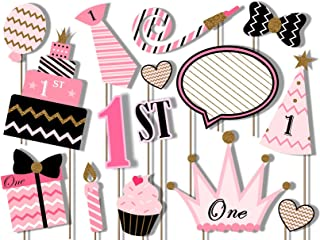 1st Birthday Girl Elegant Pink and Gold Photo Booth Props Kit - 20 Pack Party Camera Props Fully Assembled
