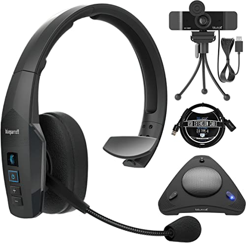 lowest BlueParrott B450-XT Noise Cancelling 2021 Bluetooth Headset for iOS & Android Bundle with Blucoil 1080p USB Webcam for Windows & online sale Mac, USB Conference Speakerphone, and 3-FT USB 2.0 Type-A Extension Cable sale