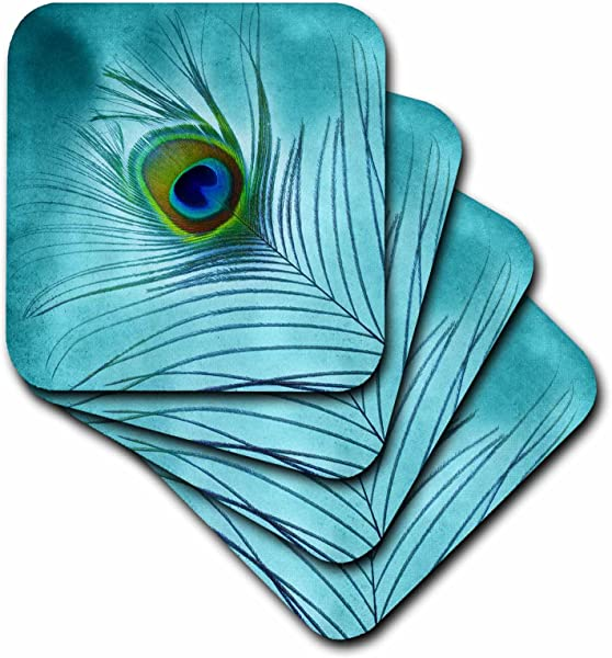 3dRose CST 211236 1 Peacock Feather On Turquoise Background Soft Coaster Set Of 4
