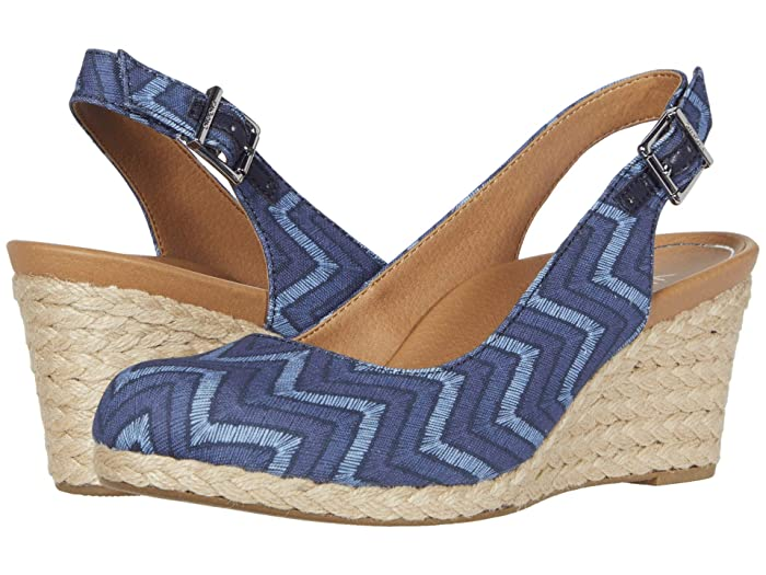 VIONIC  Coralina (Navy Chevron) Womens Wedge Shoes
