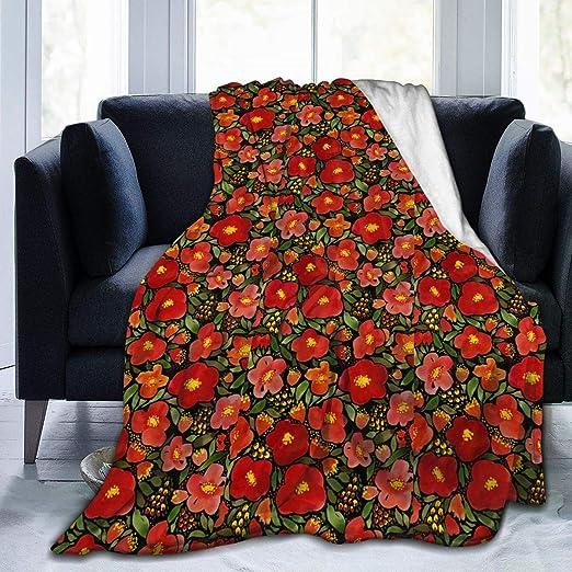 Watercolor Red Poppy Flower Super Soft Microfiber Fleece Throw Blanket Full Body Warm Comfortable Home Kitchen