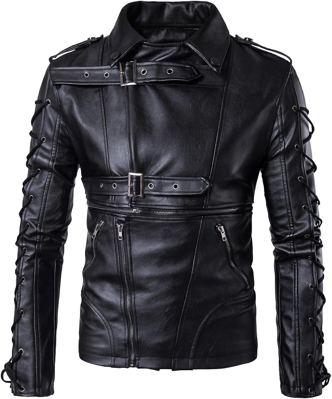 Elonglin Men Gothic Moto Jacket Lace Up Bik Kansas City Mall Max 85% OFF Leather Faux Bandage