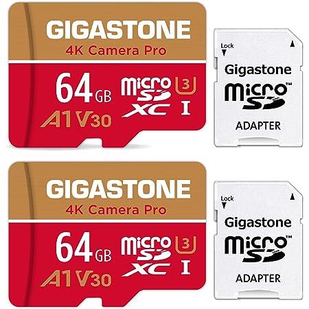 Gigastone Carte Mémoire 64 Go Lot de 2 cartes, 4K Caméra Pro Série, Compatible avec Switch GoPro Drone Vitesse allant jusqu'à 95 Mo/s. pour 4K UHD Vidéo, A1 U3 V30 Carte Micro SDXC avec Adaptateur SD.