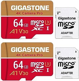 【5年保証】Gigastone Micro SD Card 64GB マイクロSDカード A1 V30 2 Pack 2個セット 2 SD アダプタ付き w/adaptor UHD 4K ビデオ録画 高速 4Kゲーム 95MB/s マイクロ S...
