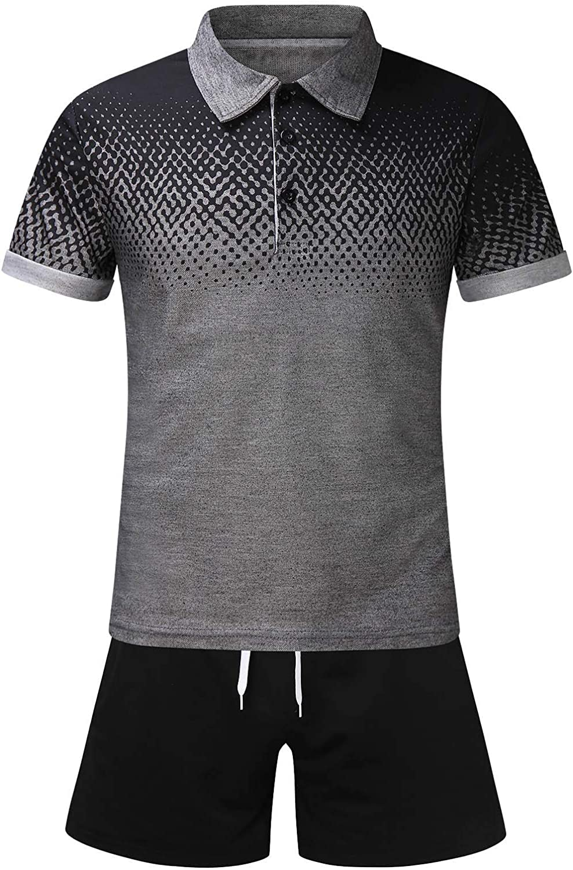 Colorado Springs Mall YUNDAN Mens 2 Piece Outfits Award-winning store Short Polo Shirts Sleeve Tracksuits