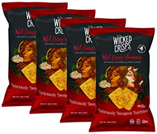 Wicked Crisps, Red Curry Hummus, Baked Veggie Chips, Gluten-free, Low-fat, Non-GMO, Kosher, Gourmet Savory Crisps in Exciting Flavors, All Natural, 4oz party-size bag (4 pack)