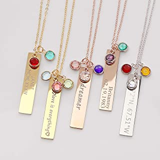 Birthstone Gold Necklaces for Women Gemstone Jewelry Graduation Gift for Her Emerald Necklace Birthstone Gift Family Tree Necklace - 8N-BS