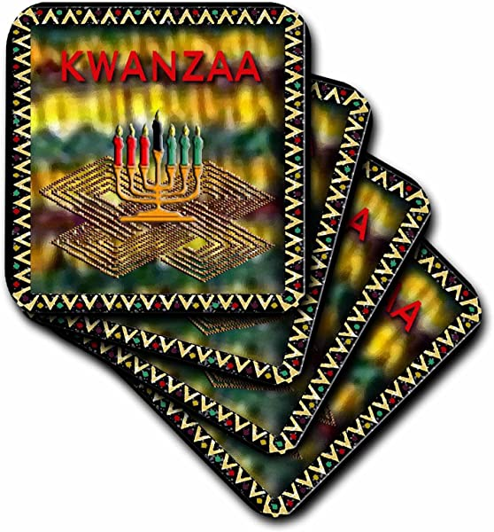 3dRose CST 27333 1 Candle Of Kwanzaa Soft Coasters Set Of 4