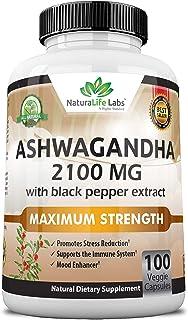 Organic Ashwagandha 2,100 mg - 100 Vegan Capsules Pure Organic Ashwagandha Powder and Root Extract - Natural Anxiety Relie...