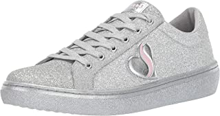 Skechers Womens 73755 Goldie - All Over Fine Glitter Lace Up Sneaker Silver Size: 5