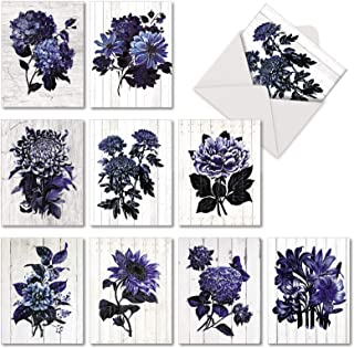 Driftwood Indigo Flowers - 10 Classic Blank Greeting Cards with Envelopes (4 x 5.12 Inch) - Blue Floral Painted All-Occasion Note Cards - Beautiful Notecards for Any Occasion AM6825OCB-B1x10
