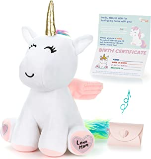 """Unicorn Stuffed Animal - Cute Unicorn Gifts Large 13"""" White Unicorns Plush Toy w Pink Wings Rainbow Hair & Writable Pink Heart Paws! Gift Packaged for Graduation, Birthday or Valentines Gift for Girls"""