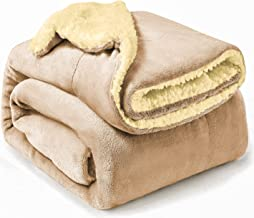 Omkeerbare deken, flanel/sherpa, extra zacht, microvezel, warm en licht, 130 x 160 cm, beige
