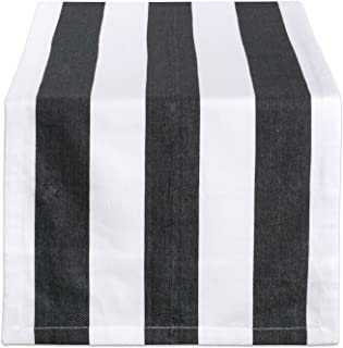 """DII 100% Cotton, Machine Washable, Classic Table Runner For Dinner Parties, Events, Decor 18x72"""" - Black & White Cabana St..."""