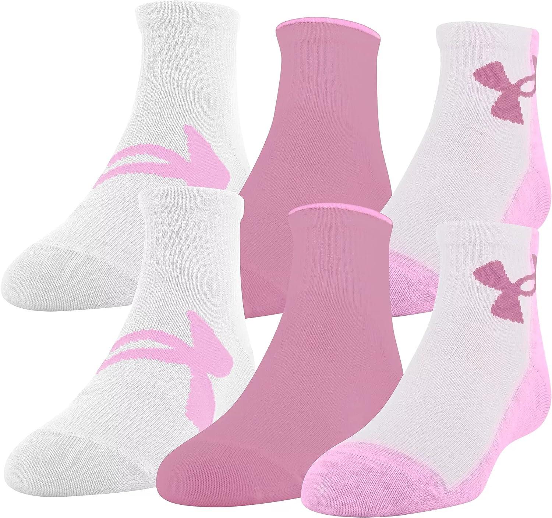 Under Armour Little Girls Essential 2.0 Quarter Socks 6 Pack
